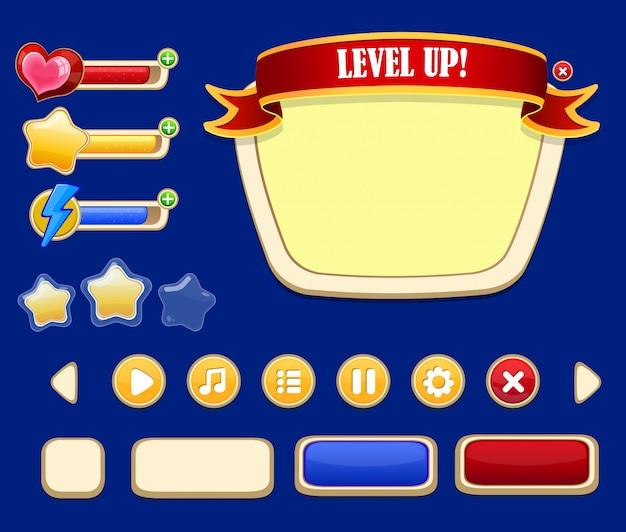 Concepto de interfaz de usuario de juego de dibujos animados