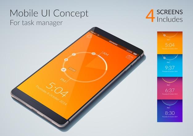 Concepto de interfaz de usuario móvil para administrador de tareas con ilustración plana de colores