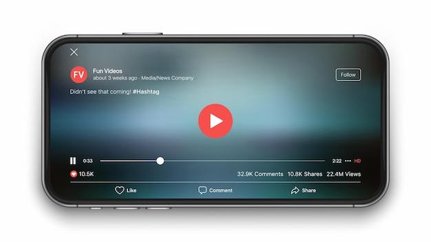 Concepto de interfaz de usuario de reproductor de video móvil para redes sociales en la pantalla del teléfono inteligente aislado