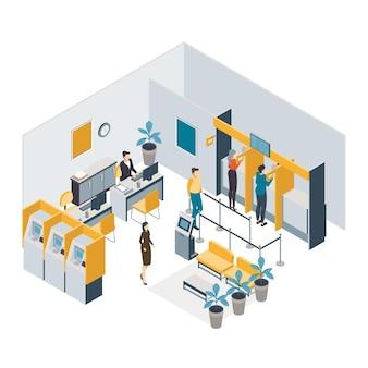 Concepto interior de banco isométrico