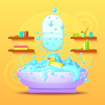 Concepto interior de baño colorido
