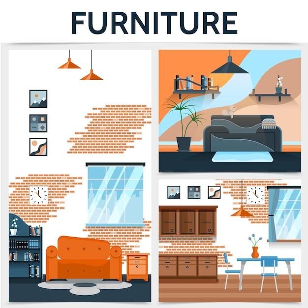 Concepto de interior de casa plana con sofá, armario, ventana, lámpara, mesa, sillas, fotos, reloj, estantes, pared, ladrillo, diseño, ilustración