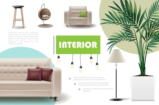 Concepto de interior de casa realista con bar y sillas de mimbre, sofá, sillón, almohadas, planta de interior, lámpara, ilustración