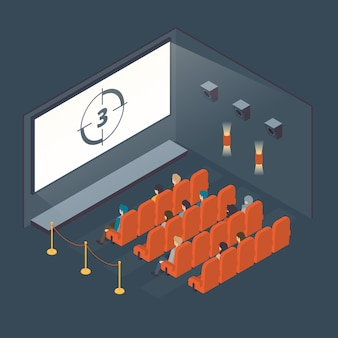 Concepto interior de cine isométrico