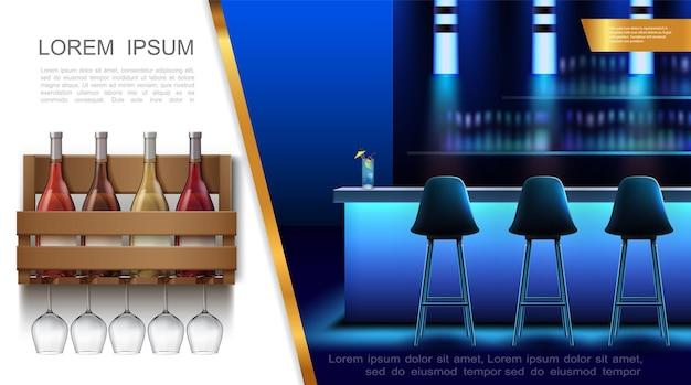 Concepto de interior de club nocturno realista con sillas de bar cóctel en botellas de vino de mostrador en caja de madera y copas de vino