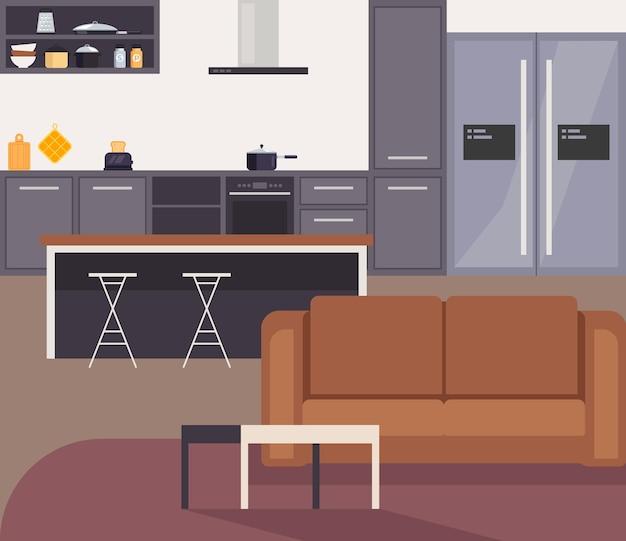Concepto de interior de cocina moderna