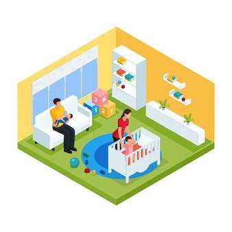 Concepto de interior de habitación de bebé isométrica con padre sosteniendo niño y madre poniendo niño en la cama aislado