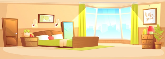 Concepto interior interior de la bandera del dormitorio