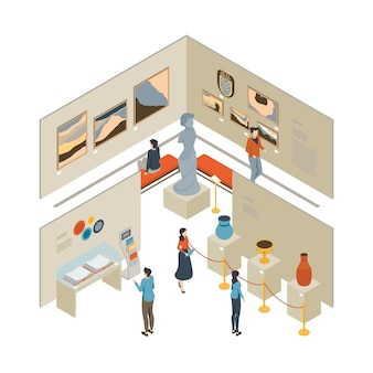 Concepto interior isométrico del museo
