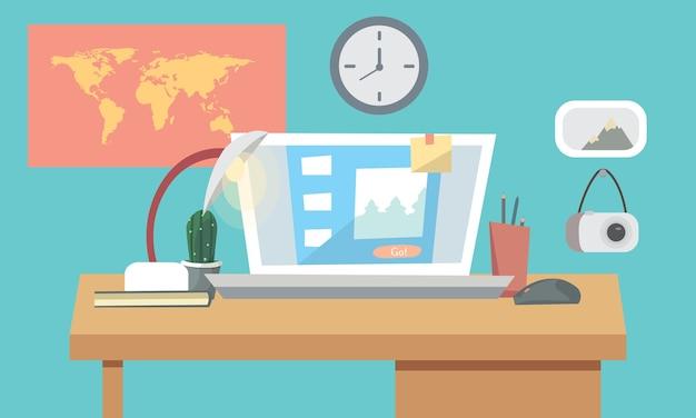 Concepto interior del lugar de trabajo con computadora, laptop, lámpara, lista de tareas, programas de trabajo en el monitor, organizador, estante, libros