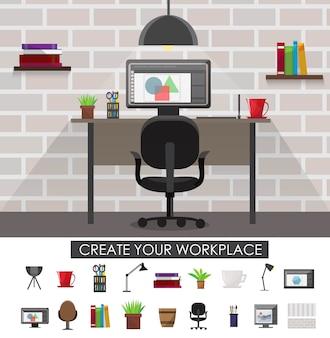 Concepto interior del lugar de trabajo con diseño de sala y conjunto de dispositivos y accesorios aislados ilustración vectorial