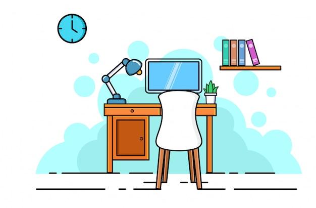 Concepto interior de oficina. espacio de trabajo empresarial moderno