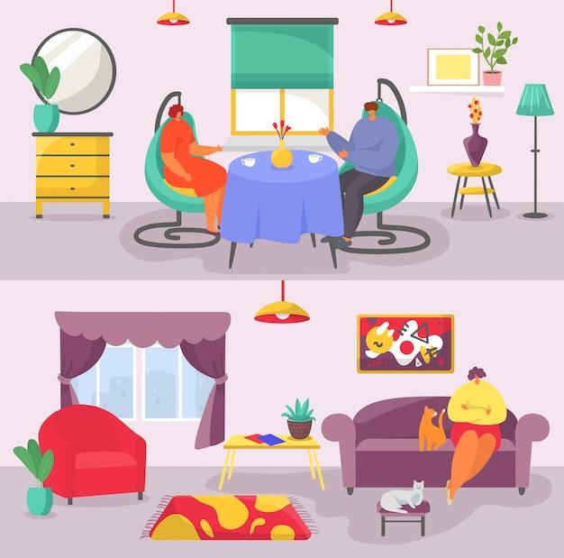 El concepto interior de la sala de estar con pancartas de muebles modernos establece una ilustración plana.