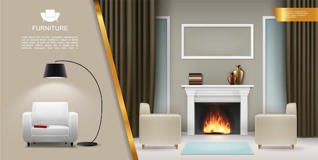 Concepto interior de sala de estar realista