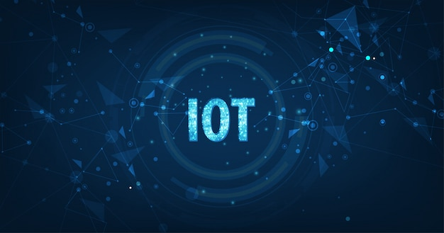 Concepto de internet de las cosas (iot) red de computación en la nube de datos grandes de dispositivos físicos con conectividad de red segura en azul oscuro
