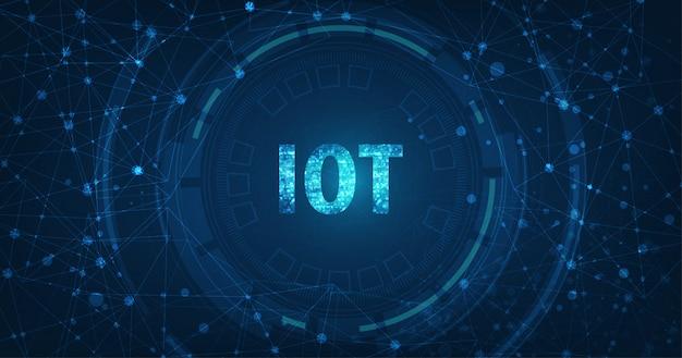 Concepto de internet de las cosas (iot). red de computación en la nube de datos grandes de dispositivos físicos con conectividad de red segura sobre fondo de color azul oscuro.