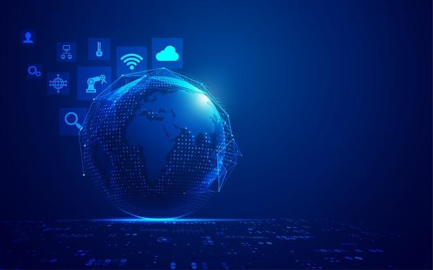 Concepto de internet de las cosas o iot, gráfico de globo digital con elemento futurista