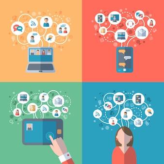 Concepto de internet y redes sociales.