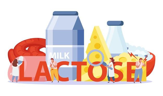 Concepto de intolerancia a la lactosa y al gluten con símbolos de productos lácteos planos