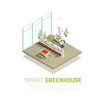 Concepto de invernadero inteligente con agricultura e ilustración isométrica de automatización creciente