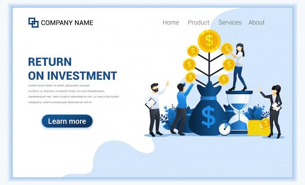 Concepto de inversión de dinero con personas crecen monedas, crecimiento financiero hasta el éxito, ganancias.