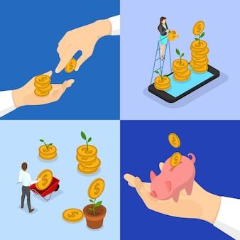Concepto de inversión de dinero. el reloj de arena como metáfora del tiempo