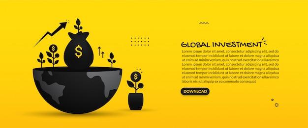 Concepto de inversión empresarial global, ilustración del retorno de la inversión, aumento financiero