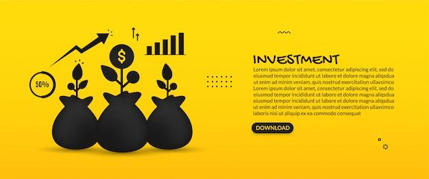 Concepto de inversión empresarial global, ilustración del retorno de la inversión