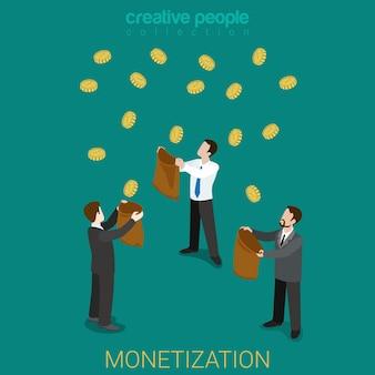 Concepto de inversión empresarial isométrica plana de monetización