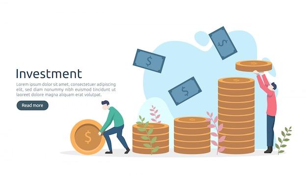 Concepto de inversión empresarial. moneda de pila de dólares, gente diminuta, dinero. plantilla de página de destino moderna