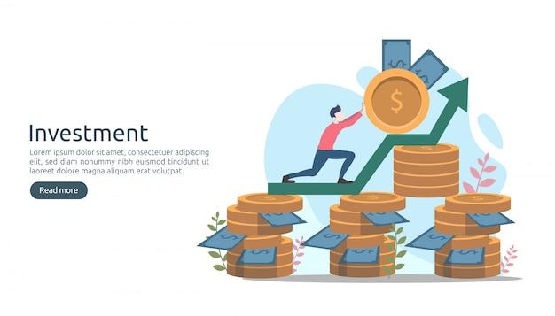 Concepto de inversión empresarial. moneda de pila de dólares, gente diminuta, dinero.