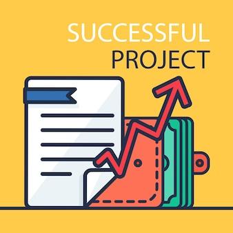 Concepto de inversión exitosa. participación bancaria. banner de presupuesto financiero. dinero, documento, bolso y gráfico. símbolo de ganancias y pagos. ilustración de patente. vector