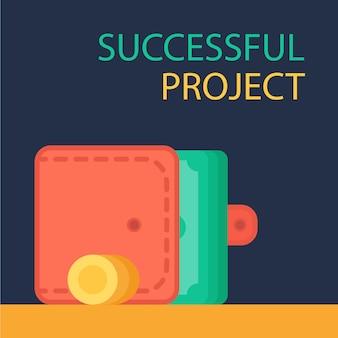 Concepto de inversión exitosa. participación bancaria. banner de presupuesto financiero. dinero, monedas con monedero. símbolo de ganancias y pagos. vector