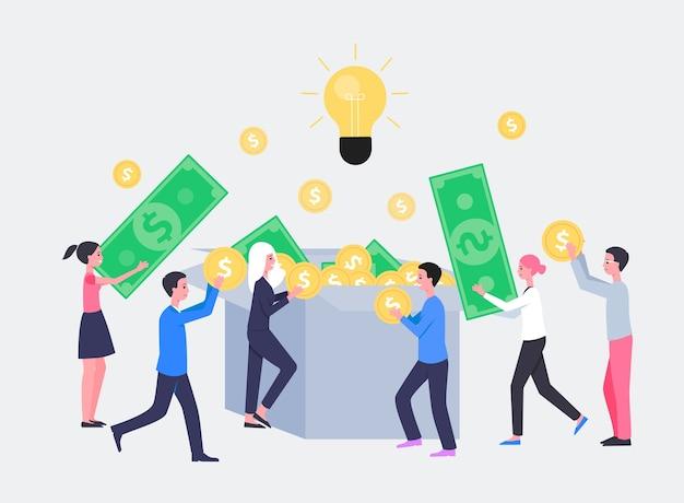 Concepto de inversión de inicio o crowdfunding
