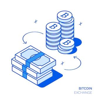 Concepto de inversión isométrica de bitcoin