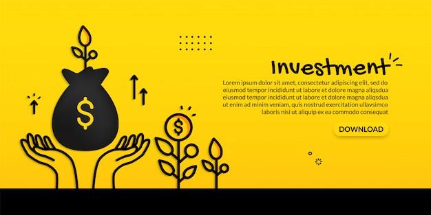 Concepto de inversión con mano sostenga la bolsa de dinero sobre fondo amarillo