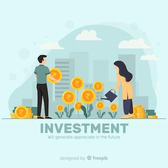 Concepto de inversión de rupia india