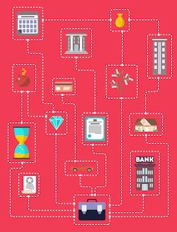Concepto de inversión en ti mismo en diseño plano