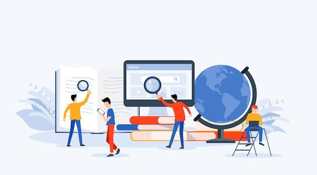Concepto de investigación empresarial, aprendizaje y educación online.