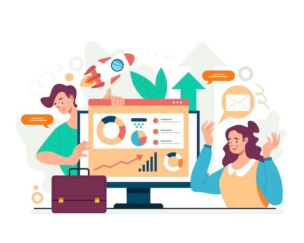 Concepto de investigación estadística de trabajo en equipo de análisis empresarial. ilustración plana