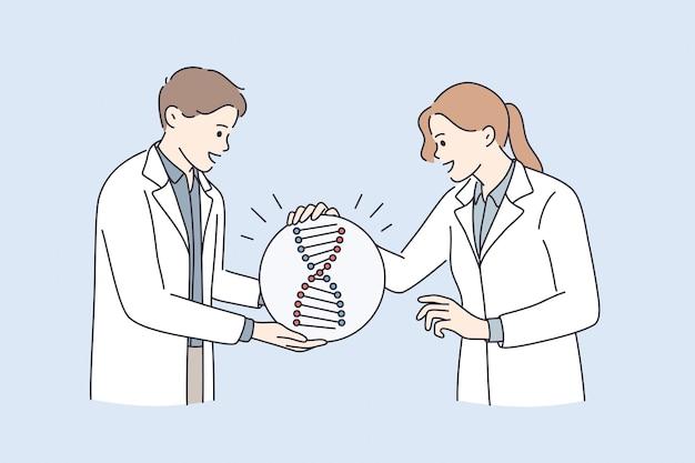 Concepto de investigación genética y pruebas de adn. hombre y mujer jóvenes médicos científicos de pie alrededor de una enorme molécula de adn hablando discutiendo ilustración de vector de experimento científico