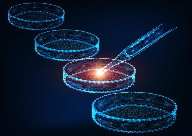 Concepto de investigación de medicina futurista con placas de petri poligonales brillantes bajas y pipeta de laboratorio