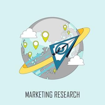 Concepto de investigación de mercados: avión de papel volando alrededor de la tierra en estilo de línea