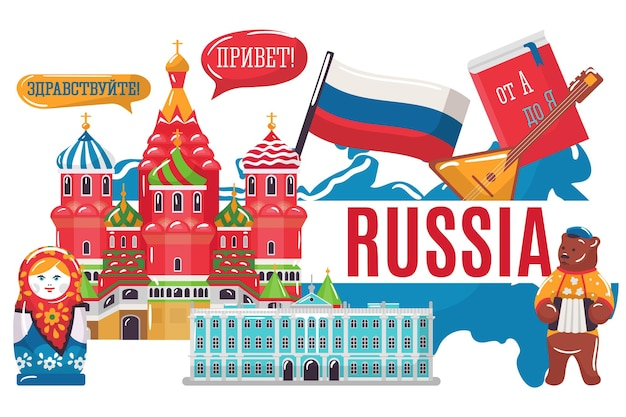 Concepto de investigación de países de la federación de rusia mundo estereotipo europeo kremlin matryoshka vector plano ...
