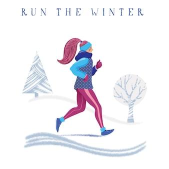 Concepto de invierno corriendo