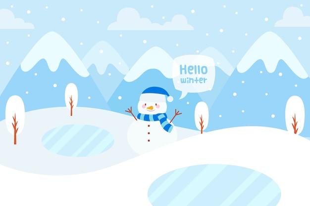 Concepto de invierno en diseño plano