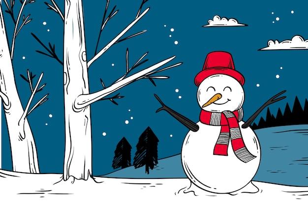 Concepto de invierno en mano dibujado