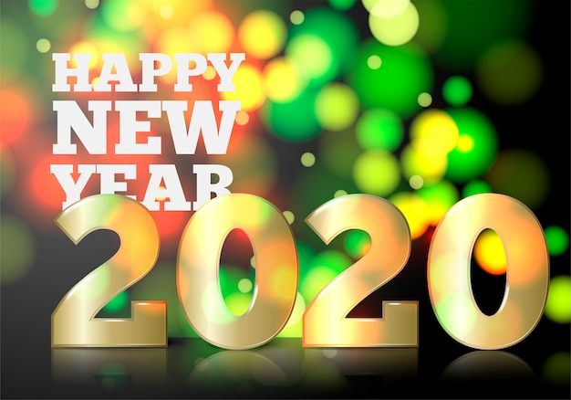 Concepto de invitación de año nuevo con gran número dorado 2020 sobre fondo bokeh brillante
