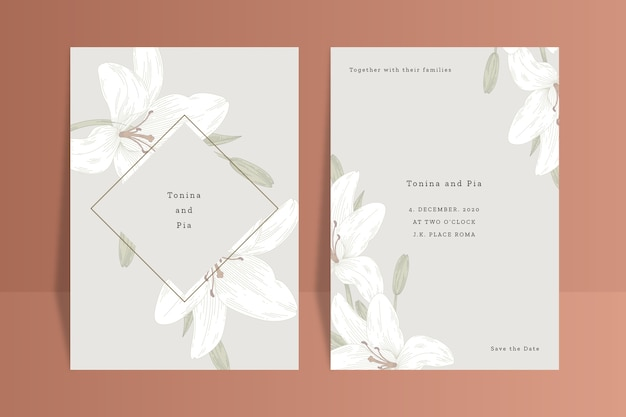 Concepto de invitación de boda con flor