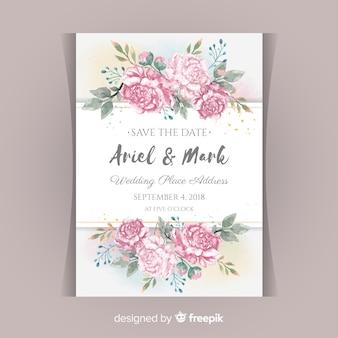 Concepto de invitación de boda con flores peonía